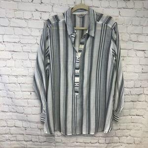 Lucky Brand Oversized Long Sleeve Popover Shirt XL